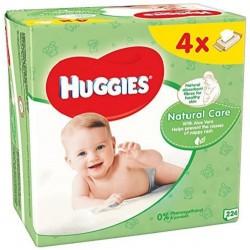 Pack d'une quantité de 256 Lingettes Bébés Huggies Natural Care - 4 Packs de 64 sur 123 Couches
