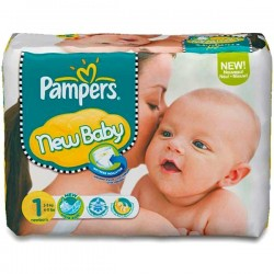 Pack 74 Couches de Pampers New Baby de taille 1 sur 123 Couches