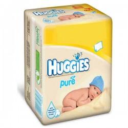 Pack d'une quantité de 384 Lingettes Bébés Huggies de la gamme Pure - 6 Packs de 64 sur 123 Couches