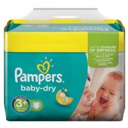 Pack d'une quantité de 340 Couches Pampers Baby Dry de taille 3+