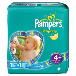 Pack 64 Couches Pampers Baby Dry taille 4+ sur 123 Couches