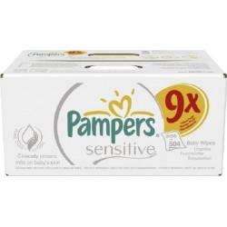 Pack économique de 504 Lingettes Bébés Pampers Sensitive Baby - 9 Packs de 56 sur 123 Couches