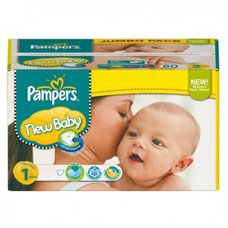 Maxi Pack 172 Couches Pampers de la gamme New Baby Dry de taille 1 sur 123 Couches