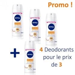Pack de 4 Deodorants Nivea de la gamme Stress Protect - 4 au prix de 3 de taille Pocket sur 123 Couches