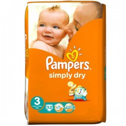 Pack 32 Couches de la marque Pampers Simply Dry de taille 5