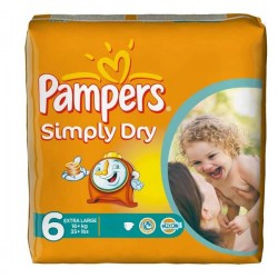 Pack 62 Couches Pampers Simply Dry de taille 6