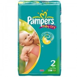 Pack de 58 Couches de Pampers Baby Dry taille 2