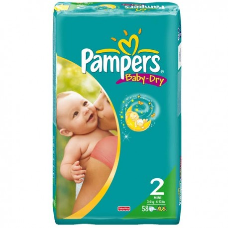 Pack de 58 Couches de Pampers Baby Dry taille 2 sur 123 Couches