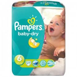 Pack d'une quantité de 21 Couches de Pampers Baby Dry taille 6 sur 123 Couches