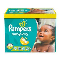 Maxi Pack 245 Couches Pampers de la gamme Baby Dry taille 5+ sur 123 Couches