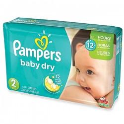 Pack économique d'une quantité de 350 Couches Pampers Baby Dry de taille 2 sur 123 Couches