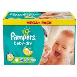 Maxi Pack de 272 Couches de Pampers Baby Dry de taille 3 sur 123 Couches
