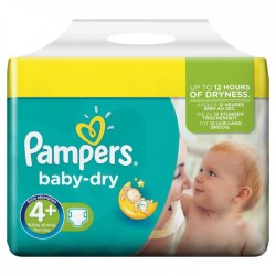 Maxi Pack 312 Couches Pampers Baby Dry taille 4+ sur 123 Couches