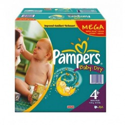 Pack économique 328 Couches Pampers Baby Dry de taille 4+