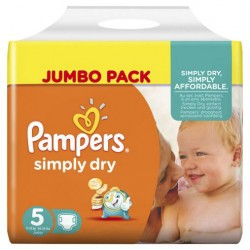 Maxi Pack 228 Couches Pampers de la gamme Simply Dry taille 5 sur 123 Couches