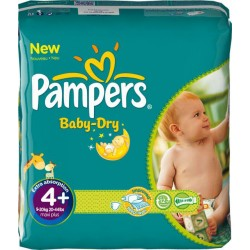 Pack 104 Couches Pampers Baby Dry de taille 4+ sur 123 Couches