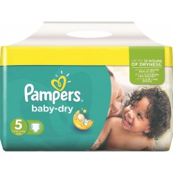 Pack 54 Couches Pampers de la gamme Baby Dry de taille 5 sur 123 Couches