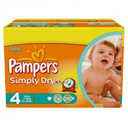 Maxi Pack 80 Couches Pampers Simply Dry taille 4 sur 123 Couches