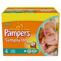 Pack d'une quantité de 276 Couches Pampers de la gamme Simply Dry taille 4 sur 123 Couches