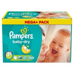 Pack économique de 328 Couches Pampers Baby Dry taille 3+