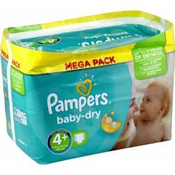 Pack d'une quantité de 48 Couches de la marque Pampers Baby Dry de taille 4+ sur 123 Couches