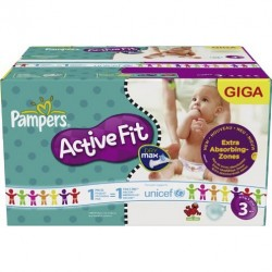 Pack 300 Couches de Pampers Active Fit de taille 3 sur 123 Couches