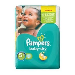 Pack 43 Couches Pampers de la gamme Baby Dry de taille 5+