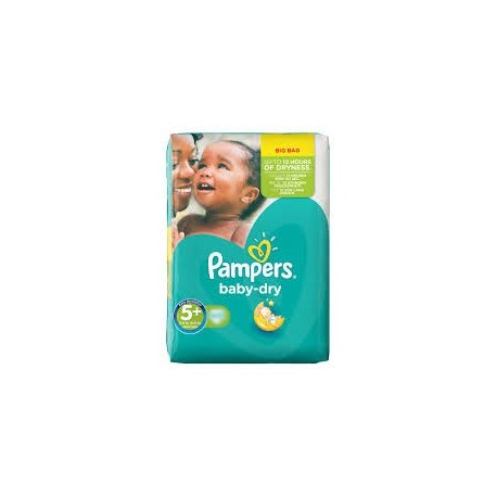 Pack 43 Couches Pampers de la gamme Baby Dry de taille 5+ sur 123 Couches