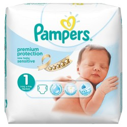 Pack 39 Couches Pampers de la gamme New Baby Sensitive taille 1