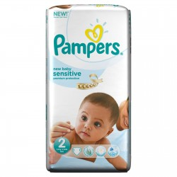 Pack 60 Couches Pampers New Baby Sensitive de taille 2 sur 123 Couches