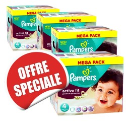 Maxi giga pack jumeaux de 820 Couches Pampers Active Fit taille 4 sur 123 Couches