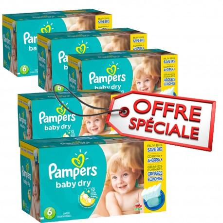 Maxi Giga Pack Jumeaux d'une quantité de 627 Couches de la marque Pampers Baby Dry taille 6 sur 123 Couches