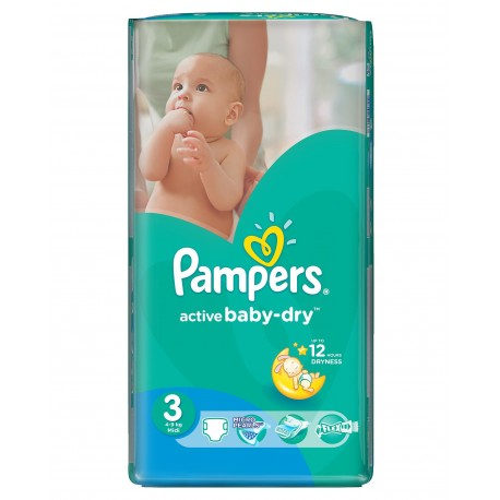 Pack économique 74 Couches Pampers Active Baby Dry de taille 3 sur 123 Couches