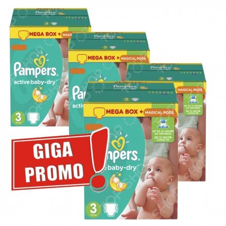 Maxi pack 814 Couches de Pampers Active Baby Dry taille 3 sur 123 Couches