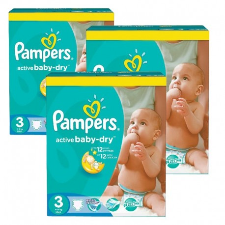 Maxi Giga Pack de 296 Couches de Pampers Active Baby Dry taille 3 sur 123 Couches