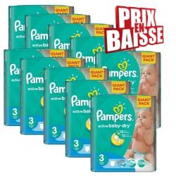 Gros pack d'une quantité de 592 Couches de Pampers Active Baby Dry taille 3