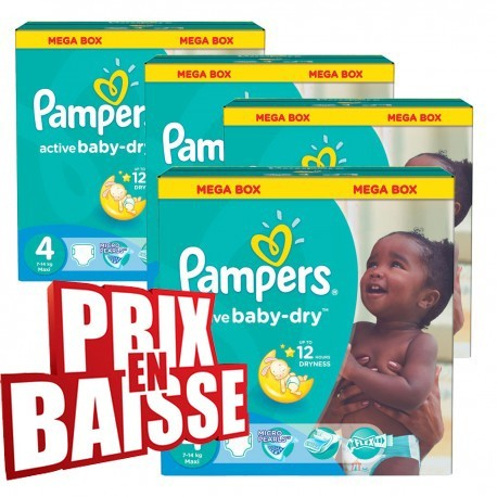 Couches Pampers Active Baby Dry Taille 4 A Petit Prix 290 Couches
