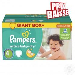Gros pack d'une quantité de 348 Couches de la marque Pampers Active Baby Dry de taille 4