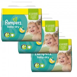 Maxi Mega pack 114 Couches Pampers Baby Dry 6+ sur 123 Couches