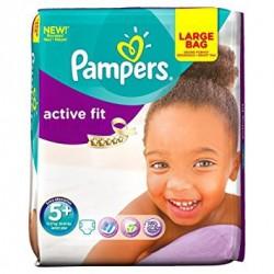 Pack 56 Couches Pampers de la gamme Active Fit de taille 5+ sur 123 Couches
