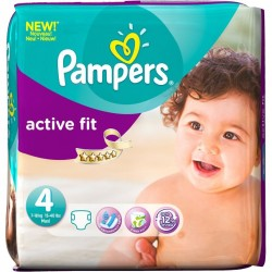 Pack d'une quantité de 54 Couches Pampers Active Fit de taille 4 sur 123 Couches