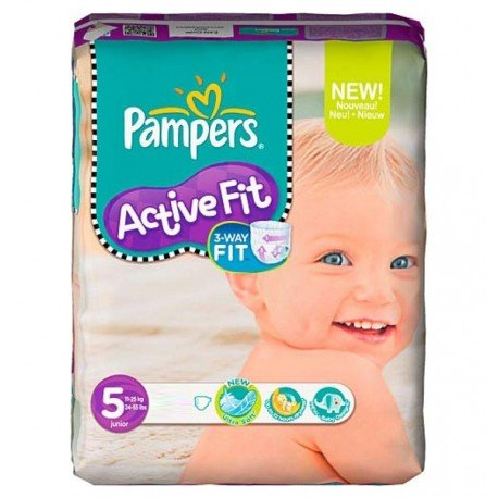 Pack 92 Couches Pampers Active Fit de taille 5 sur 123 Couches