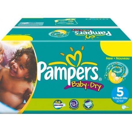 Giga Pack 164 Couches Pampers Baby Dry taille 5 sur 123 Couches
