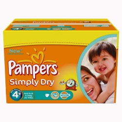 Giga Pack 528 Couches Pampers Simply Dry taille 4+ sur 123 Couches