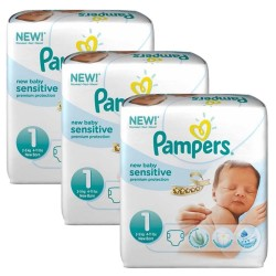 Maxi Pack 168 Couches Pampers New Baby Sensitive taille 1