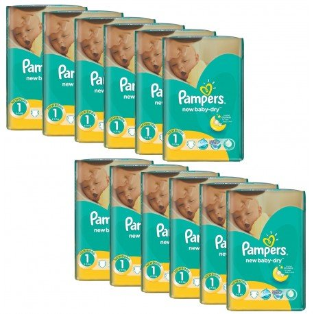 Pack économique 860 Couches Pampers New Baby Dry taille 1 sur 123 Couches
