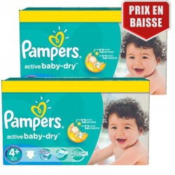 Maxi Pack 162 Couches Pampers Active Baby Dry taille 4+