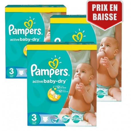 Giga Pack 246 Couches Pampers Active Baby Dry taille 3 sur 123 Couches