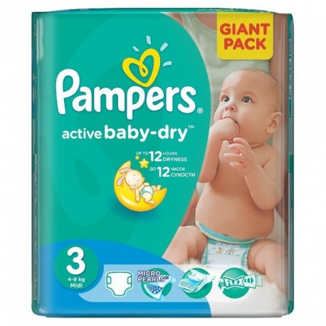 Pack 82 Couches Pampers Active Baby Dry taille 3 sur 123 Couches
