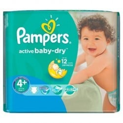 Pack 18 Couches Pampers Active Baby Dry taille 4+ sur 123 Couches